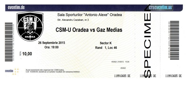 CSM-U Oradea comercializează bilete la meciurile pe care le găzduiește prin rețeaua Eventim și pe site-ul eventim.ro