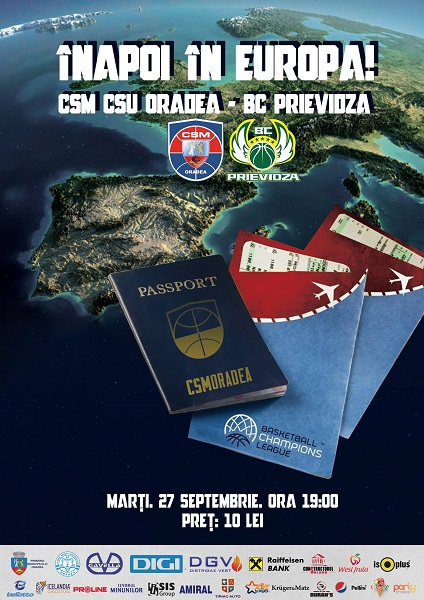 Marți (27.09), CSM CSU Oradea debutează în Basketball Champions League