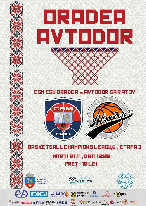 Informații comercializare bilete pentru meciul cu Avtodor Saratov din Basketball Champions League