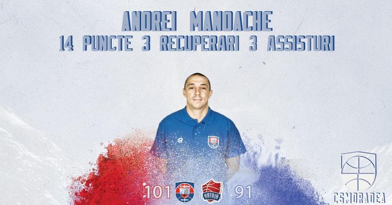Recorduri personale la eficiență, puncte și intercepții pentru Andrei Mandache